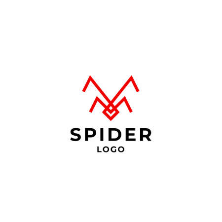 Simple, modern logo about a spider designed with geometric lines. EPS10, Vector.