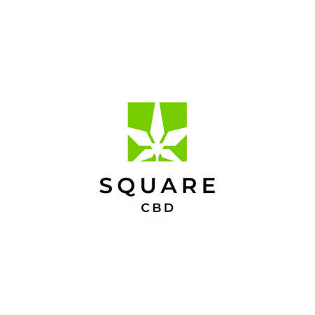 Modern, simple and geometric logo about Hemp and squares. EPS10, Vector.