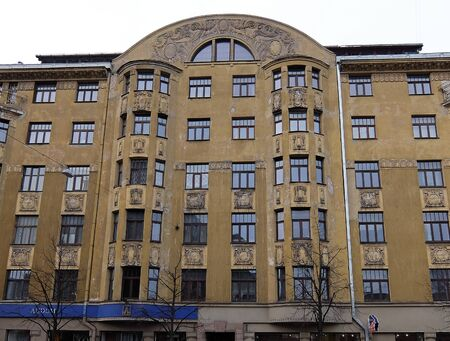 eclecticism: Riga, Terbatas 59-61, a huge building in Art Nouveau style, elements of the facade