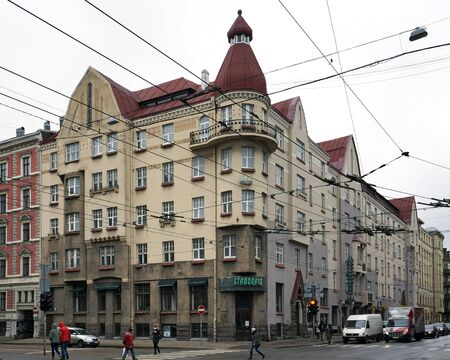 eclecticism: Riga, Chaka street 55, a building in the style of national romanticism, many details Editorial