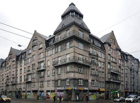eclecticism: Riga, Matisa street 36, corner building in Art Nouveau style, city landscape