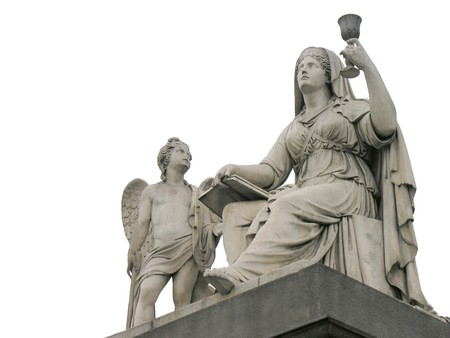 neoclassic: Statue of Faith, Church of the Holy Mother of God in Turin Italy Stock Photo