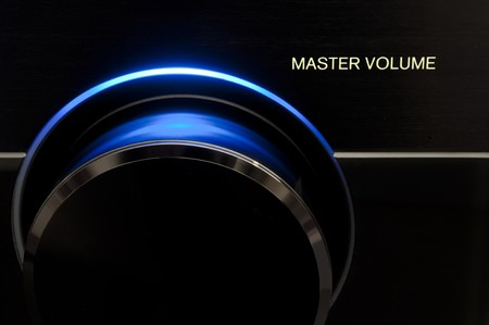 Blue Master volume audio knob, form receiver Audio/Tv Stock Photo - 7230415