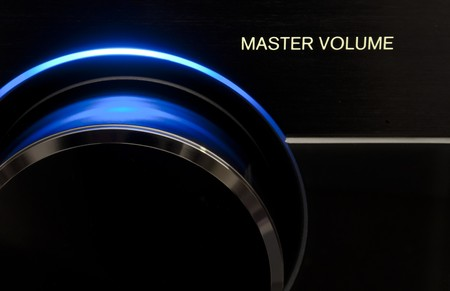 Blue Master volume audio knob, form receiver Audio/Tv Stock Photo - 7230414
