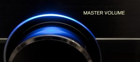 Blue Master volume audio knob, form receiver Audio/Tv Stock Photo - 7230411