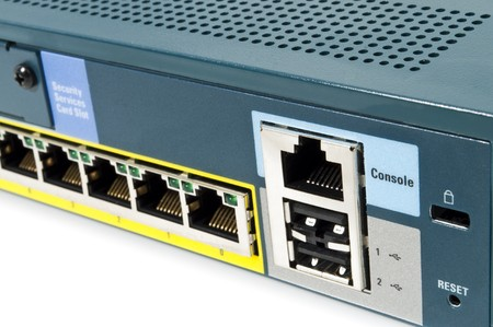 LAN port of a Ethernet firewall with console port, reset and USB photo