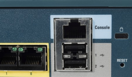 Port console of a ehternet firewall with USB port photo