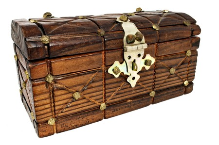 Closed wooden treasure chest isolated on white photo