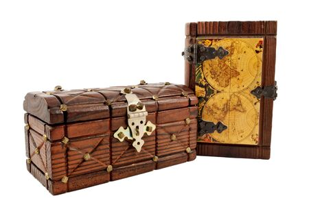 medieval wooden treasure map and a chest isolate on white photo