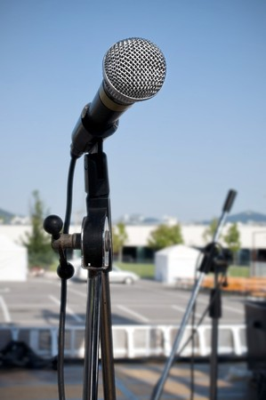 Detail of a old style cabled microphone Stock Photo - 7434782