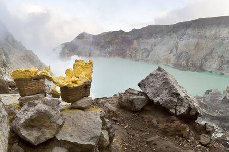 vulcano: Sulfur from Ijen Crater in West Java Indonesia