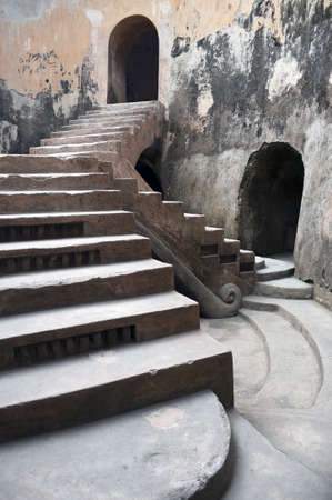 burrows: Ancient royal stairs detail in an old mosque in Indonesia