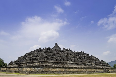 Full view of Buddhist Borobudur Temple in Yogyakarta, Indonesia