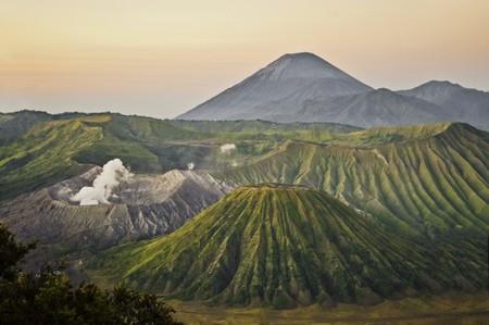 Bromo volcano site during sunrise, Java Indonesia photo