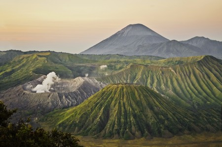 java: Bromo volcano site during sunrise, Java Indonesia