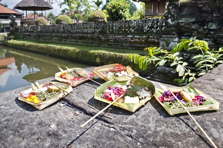 Balinese offering to the Gods by temple site Stock Photo - 8334956