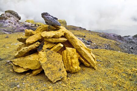 sulfur: Group of block of stones in a sulfur mine