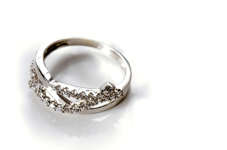 White Gold engagement Ring with several diamonds