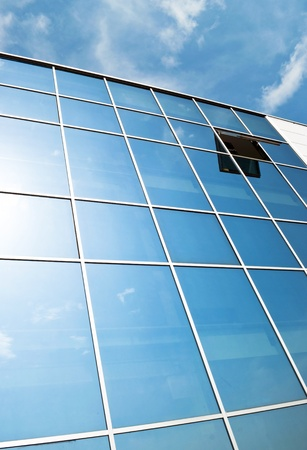 window  glass: Open window in modern glass wall office building