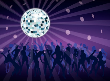 Disco ball in night fever dancing party with people