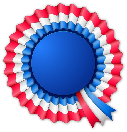 blue ribbon: Blue red and white blank rosette with ribbon isolated on white