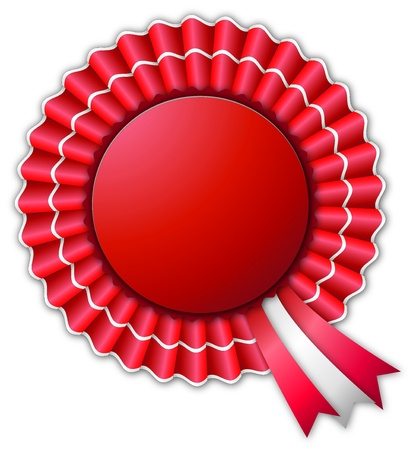 badge ribbon: Red and white blank rosette isolated on white Illustration