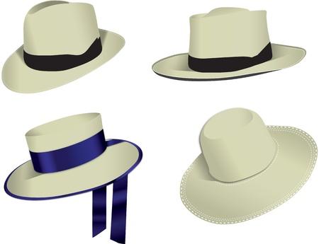 sun tan: Cuatro sombreros Panam� aisladas sobre fondo blanco, vector