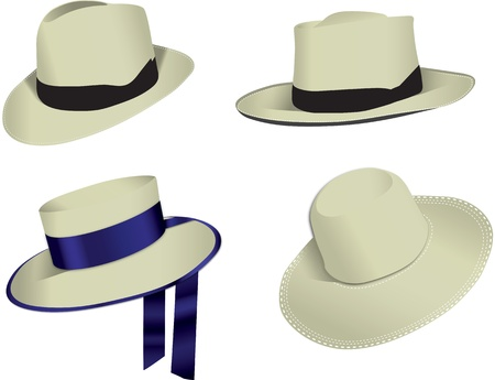 a straw: Four Panama hats isolated on white background, vector