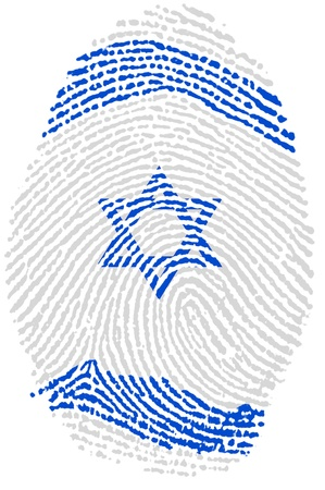 and israel: Israel fingerprint passport  flag on white paper