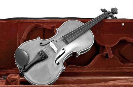 Black and white italian Violin in red brown case isolated on white