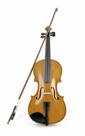 Isalated italian wooden violin in white background
