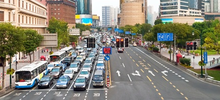Traffic jam stopped by a traffic light in Shanghai, China