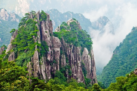 Atop in Yellow sacred mountains Huangshan in China photo