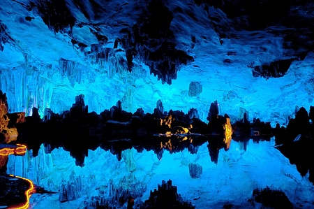 Reed flute cave underground scene in Guilin,China