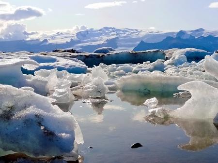light blue ice melting landscape during summer in Iceland