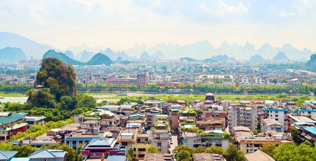 Guilin city view with mountains in background, China Stock Photo - 10931879