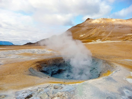 volcanos: Active geothermal fumarole in Iceland in summer time Stock Photo