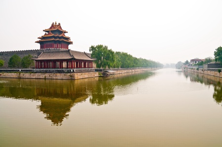 Foggy cCanal outside forbidden city in Beijin, China Stock Photo - 11317984