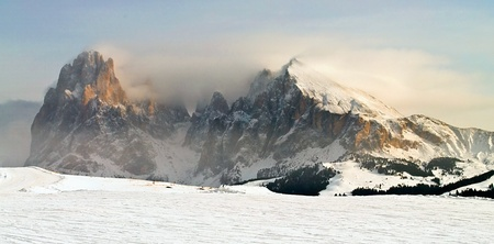 Winter mountain landscape, Sasso Piatto in Val Gardena, Dolomiti, Italy photo