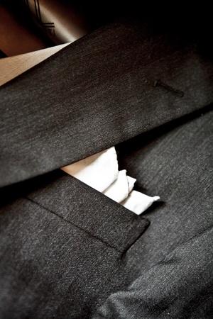 tailored: Black Tuxedo with white handkerchief, classical italian elegance fashion