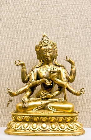god figure: Hindu mythological traditional god statuette in bronze ore