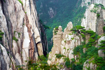 Scenic Huangshan mountain complex from atop a peak in China Stock Photo