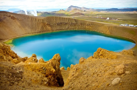 Blue sky volcanic lake in rural iceland Stock Photo