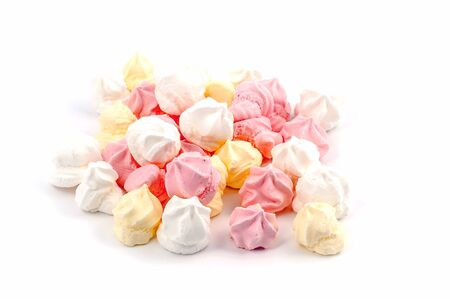 pink, yellow and white meringue Isolated on white background