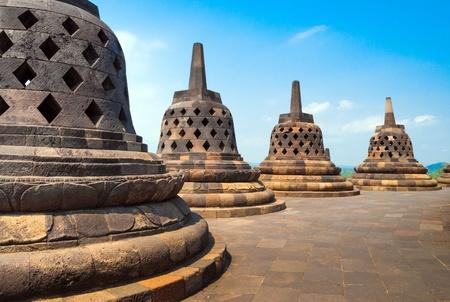 atop: Atop Borobudur temple site in Indonesia Stock Photo