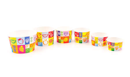 ice cream cup: Ice cream paper cups isolated on white backgrounds