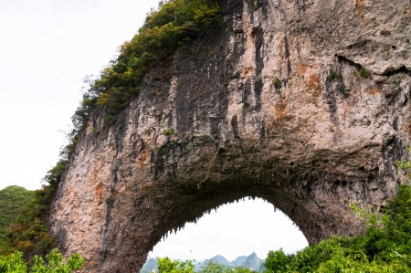Moon Hill karst formation in China near Yangshuo photo