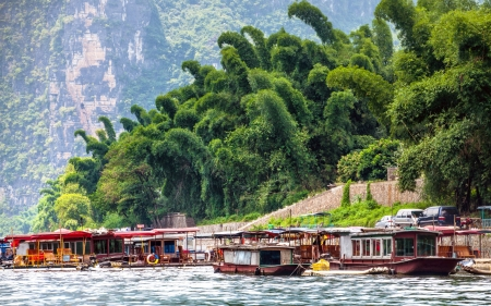 Boating in Guilin yangshou river in China photo