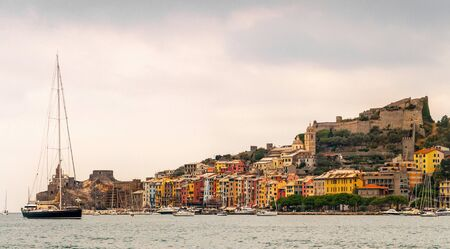 view from the sea of Portovenere, Liguria, Italy photo