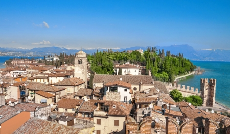 View of Sirmione roof houses on Garda Lake, Italy,
